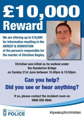 £10,000 Reward To Find Christian's Killer